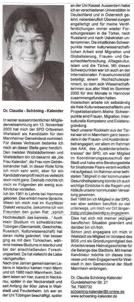 Claudia Schöning-Kalender stellt sich vor: Kandidatin für die Gemeinderatswahl 2004
